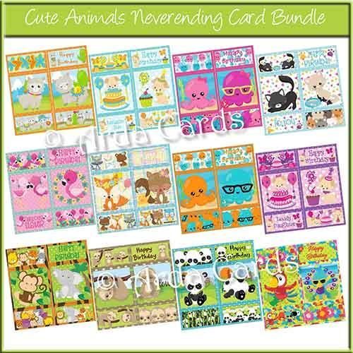 Cute Animals Never Ending Card Bundle of Printables