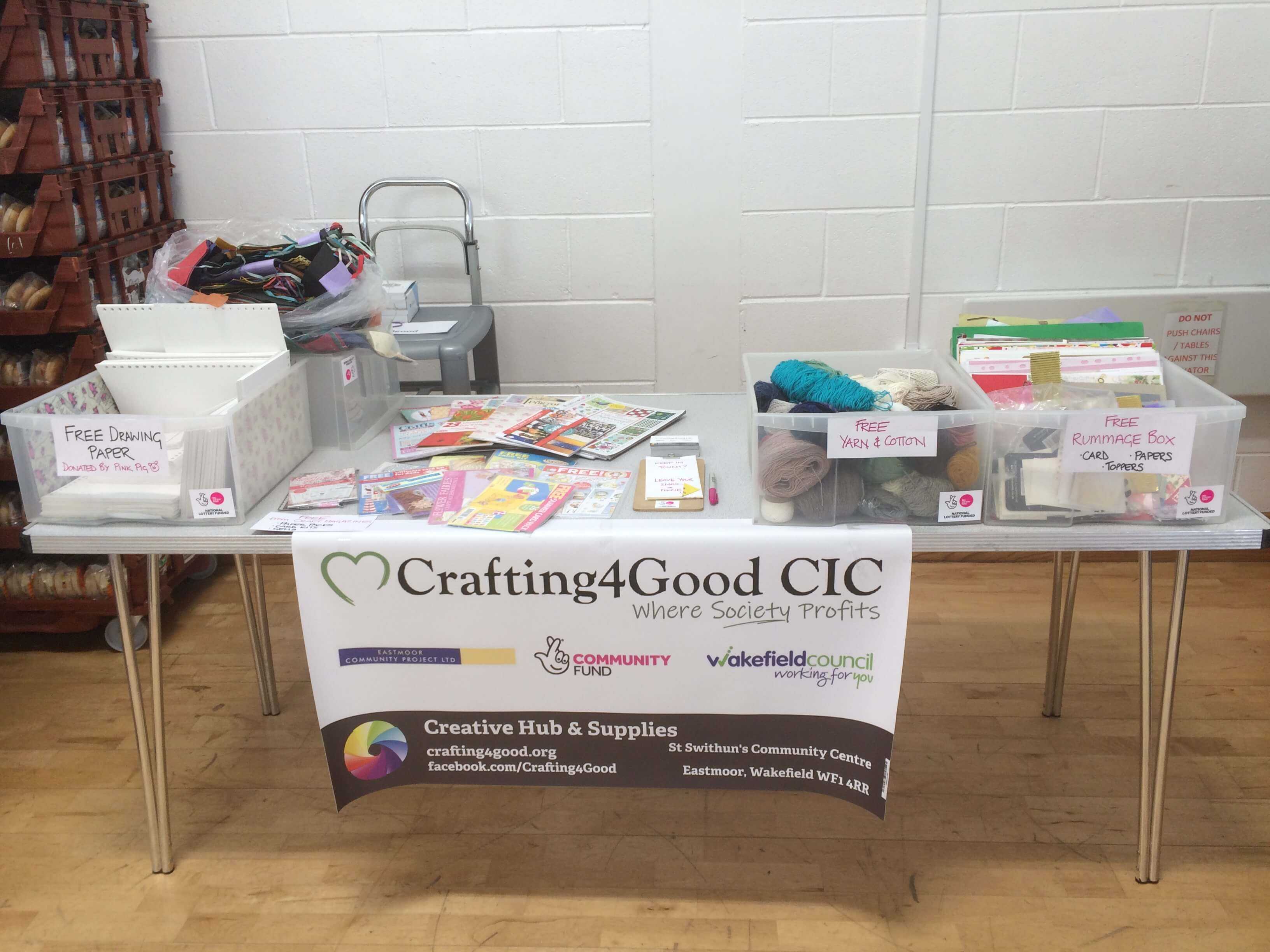 Free craft supplies for a community centre open day and wellbeing event