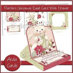 Easel Card with Drawer (optional) with the Purrfect Christmas design