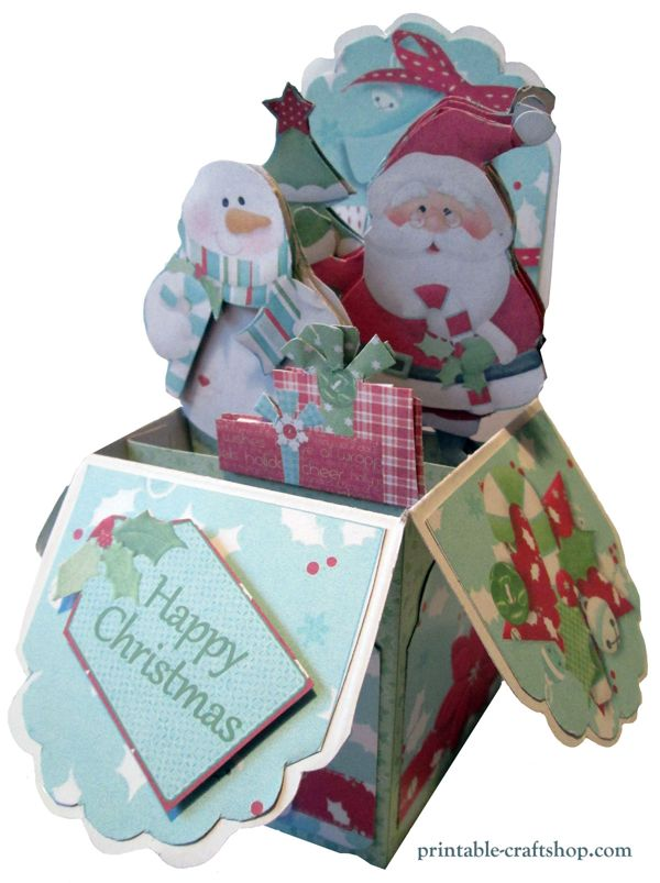Christmas Pop Up Box Card Made with Printables