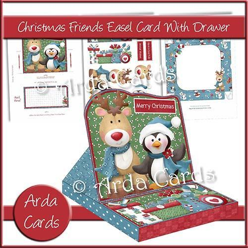 Christmas card making kit - Christmas Friends Easel Card with Drawer