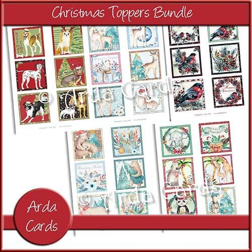 Christmas Toppers For Card Making.Quick Printable Greeting Card Ideas