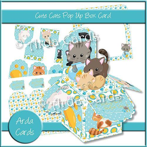 Cute Cats Printable Pop Up Box Card
