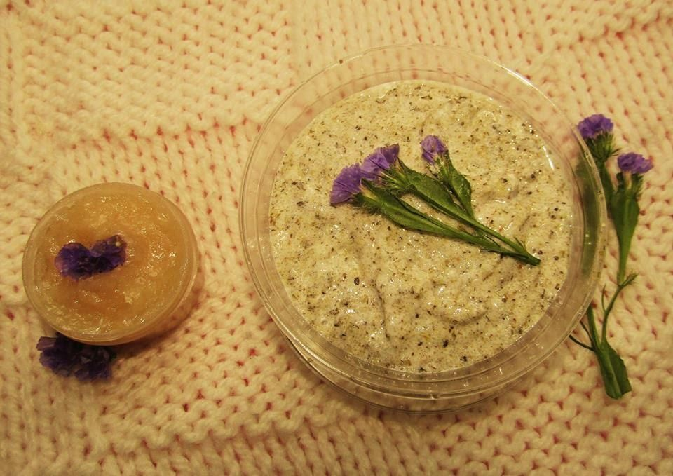 homemade body scrub and lip balm