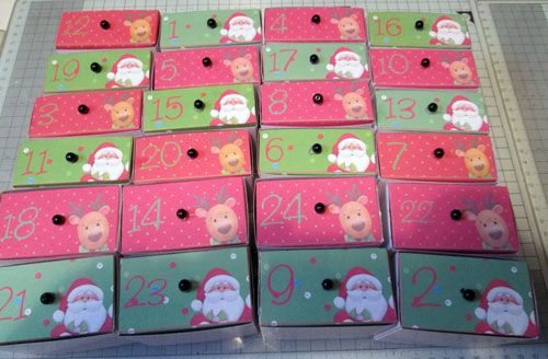 Made up Advent Drawers in their Sleeves