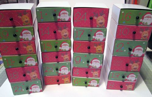 Advent Drawers Glued in Stacks of 6