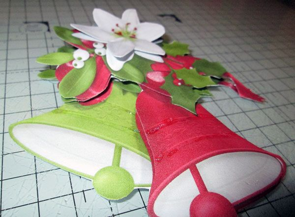 Decoupage pieces assembled together to form 3D decoration for your card