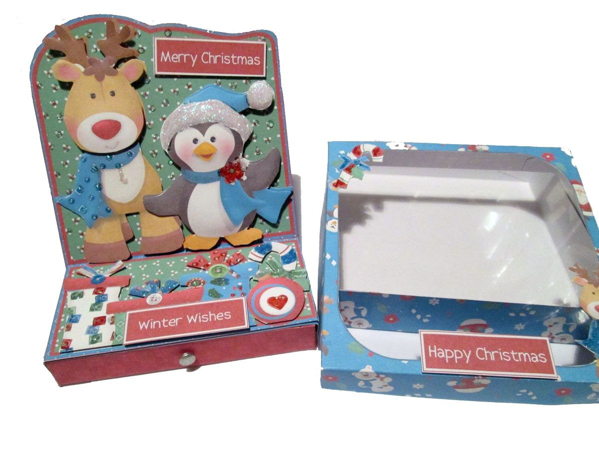 Christmas Easel Card with alternative Acetate Box Lid Made with Printables