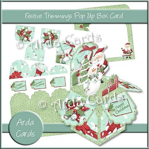 Christmas card making kit - Festive Trimmings Pop Up Box Kit
