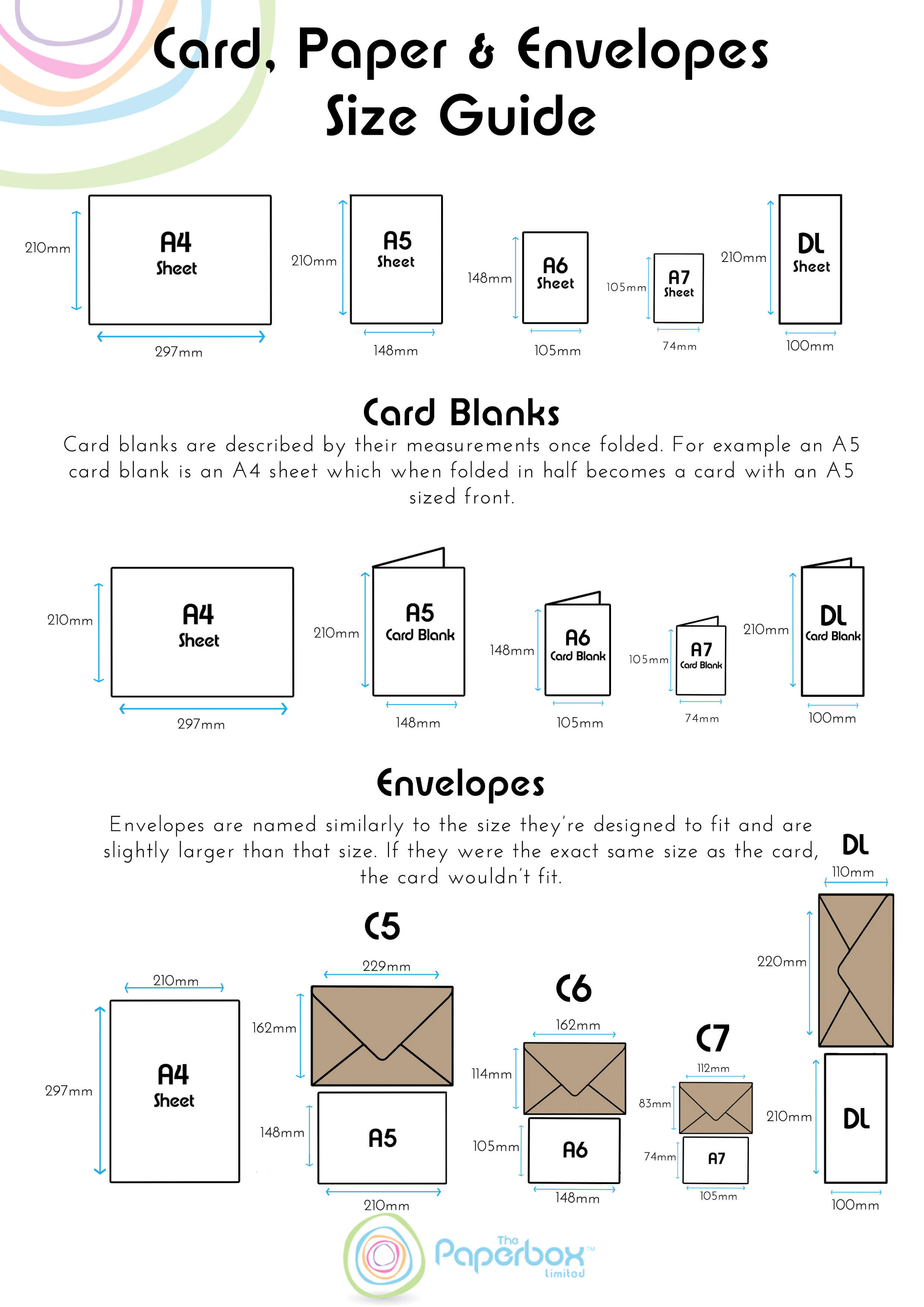 Free Paper, Card and Envelope Sizes Printable Guide