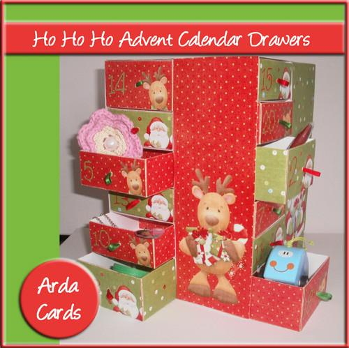 Christmas printable Advent calendar with drawers instant download kit