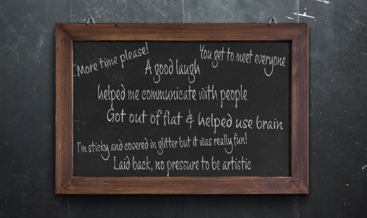 blackboard with impact statement feedback from crafting with men