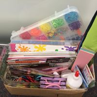 Donated kids craft supplies for a summer group