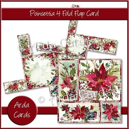 Christmas card making kit - Poinsettia 4 Fold Flap Card