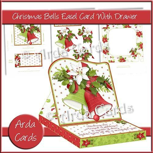 Christmas card making kit - Christmas Bells Easel Card with Drawer