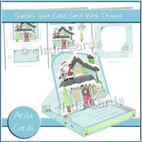 Christmas card making kit - Santa's Visit Easel Card from Printables