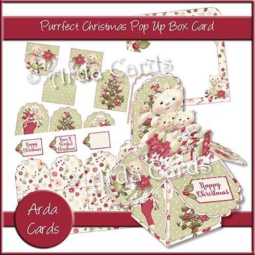 Purrfect Christmas Printable Pop Up Box Card Kit
