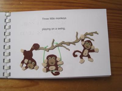Just one page from '10 Little Monkeys from Early Years Poems and Rhymes.' Tactile elements by Sandie