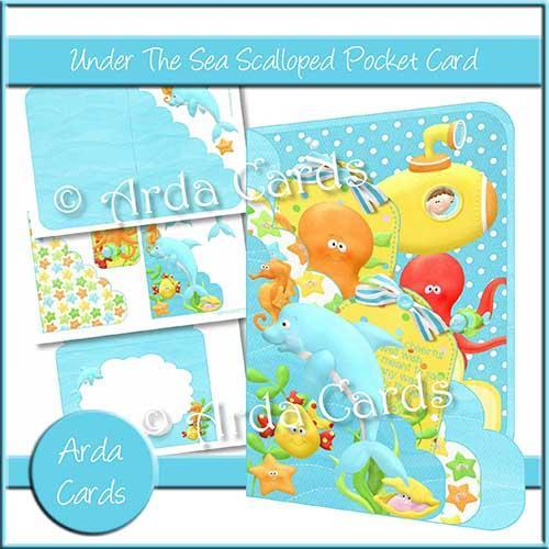 Under the Sea Printable Scalloped Pocket Card Kit