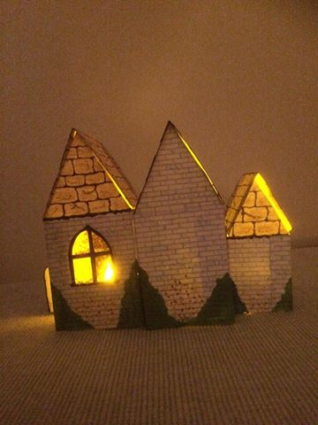 Little churches made from birdhouse template printables - back view