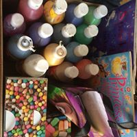 Donated kids art and craft supplies for a summer group